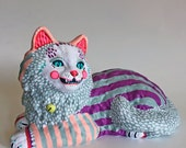 Smiley Cat - orignal hand painted found object sculpture