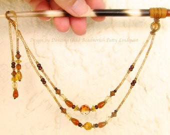 Hair Stick, Hair Quill, Amber Beaded Hairstick, Golden Beads, Hair piece, Hair toy, Beaded Hair, Hair Beads, Macrame, amber glass crystal