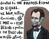 Gettysburg Address art print ... Abraham Lincoln November 19th, 1863 speech ... you choose the size