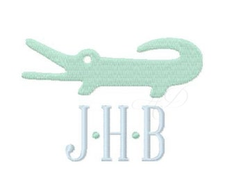 Preppy Alligator Embroidery Design Flat Stitch Applique Embroidery Font BX instant download 4x4 5x7 6x10