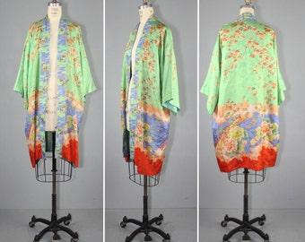 1920s / silk robe / vintage kimono / flapper / AIX EN PROVENCE antique kimono