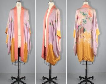 silk robe / vintage kimono / 1920s / BIRD SONG art nouveau silk kimono