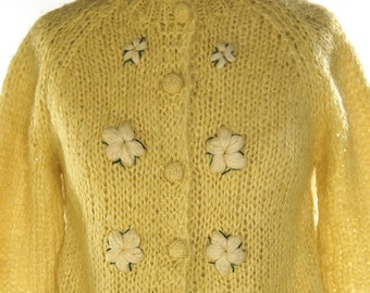Mohair Cardigan Sweater / Vintage 1960s Embroidered Italian Sweater / Hippie Boho Bohemian Mod Button Up Sweater / Floral Embroidery / Italy