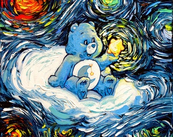 Care Bears Art - Bedtime Bear Starry Night Giclee print van Gogh Never Saw Care-A-Lot by Aja 8x8, 10x10, 12x12, 20x20, and 24x24 choose
