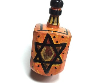 Star of David Dreidel - Orange and Black, Wooden Hand Painted Draydel - Hanukkah Decoration, Judaica, Jewish Gift by Claudine Intner