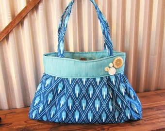 Large Pleated Handbag, Vintage Button Purse, TurquoiseDiaper Bag, Ready to Ship