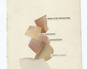With Amazement: original artwork | collage on paper | collectible diagram poem