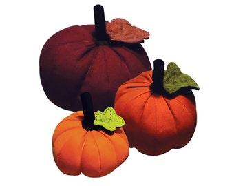 Pumpkin Pattern 3 sizes - PDF Sewing Tutorial - Halloween Thanksgiving Decor - Fabric and Felt Craft