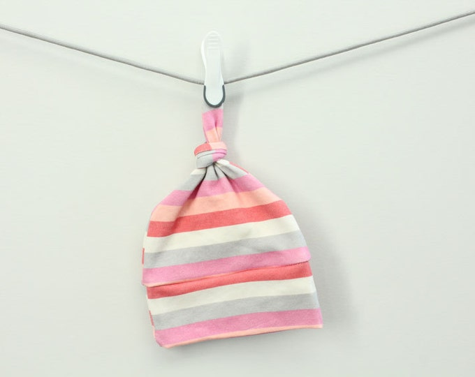 Baby Hat coral pink stripe Organic knot by PETUNIAS hipster modern newborn shower gift photography prop outfit accessory neutral boy