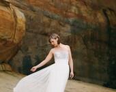 Au Clair De La Lune Silver Lace and Tulle Wedding dress