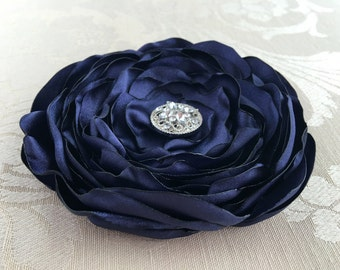 Navy Blue Flower Hair Clip.Brooch.Pin.Headpiece.Navy.Bridesmaid.Hair Flower.Hair Piece.Satin Flower.hair accessory.wedding.flower girl