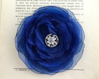 Sapphire Flower Hair Clip.Brooch.Pin.headpiece.sapphire blue.Corsage.Organza Flower.Fabric.hair piece.wedding.bridesmaid.fascinator.dk blue