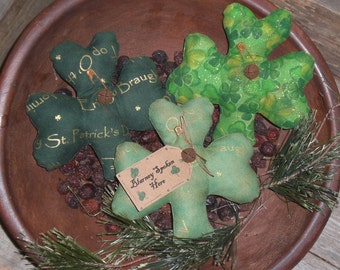 3 Primitive St. Patty's - St. Patrick's Day - Assorted Lucky Fabric Shamrocks - March 17 - Green - Bowl Fillers Ornies Ornaments Tucks