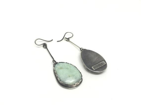 Amazonite earrings inhale exhale earrings drop earrings blue reattings sterling silver earrings inhale earrings meaningful jewelry art