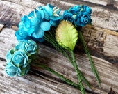 40pcs Teal Paper Flowers . Wedding Paper Flowers . Small Paper Flowers . Millinery Flowers Paper Roses . Teal Turquoise Mint Wedding DIY