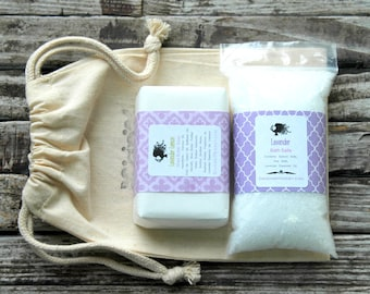 Lavender Gift Set . Spa Gift Set . Soap Gift Set . Bath Gift Set . Lavender Bath Salts . Lavender Lemon Soap . Gift for Her Women Girlfriend