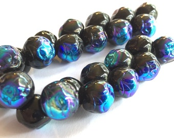 Vintage buttons  (24) Czech glass Blue iridescent iris black beads Czech glass Rose imprint iridescent 10mm (24)