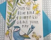 Happy Birthday Greeting Card, Blue bird, Happiness, whimsical and fun, sweet, Cori Dantini