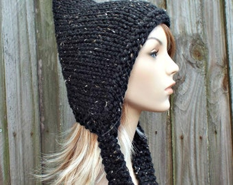 Obsidian Tweed Black Pixie Hat Black Womens Hat - Black Knit Hat - Black Hat Black Winter Hat Black Tweed Hat Black Hood - READY TO SHIP