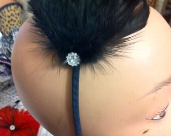 Black Feather Fascinator w/ crystal on Headband