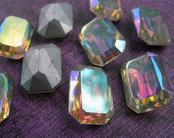 Vintage Glass Rhinestones Crystal CLEAR AB RAINBOW Octagons Cushion Cut Baguettes lot of 2 Rectangles Silver Foiled Faceted 13mm x 18mm