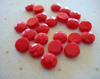 Vintage Opaque Red Glass Nailhead Beads 6mm Full Strand lot of 22