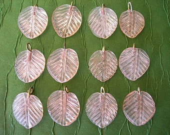 Pressed Glass Leaf Charms brass metal loops ROSE QUARTZ PINK lot of 12 leaves (one dozen)