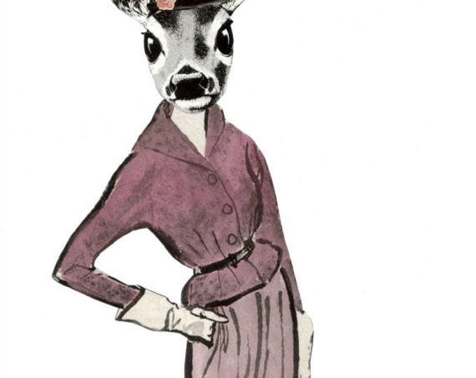 Dear Deer Art, Whimsical Doe Artwork, Anthropomorphic Animal