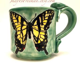 Ceramic Butterfly Mug Tiger Swallowtail on Jade Stoneware Handmade Wheel Thrown Made To Order MG006