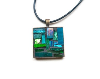 Teal Mosaic Pendant with Bronze Bezel