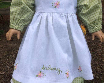 18 inch Doll Clothes - Pioneer Dress Pinafore Pantaloons - Defeat DIPG