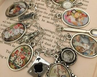 Silver Alice Bracelet, Alice in Wonderland Charm Bracelet, Alice Charm Bracelet, Alice in Wonderland Bracelet, Alice in Wonderland Gift