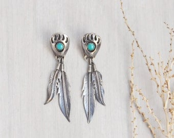 Vintage Sterling Silver Bear Paw Earrings - shadowbox set turquoise stones dangling feather charms - post backs
