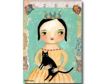 ORIGINAL black cat art with queen of cats cute mixed media painting folk art by TASCHA