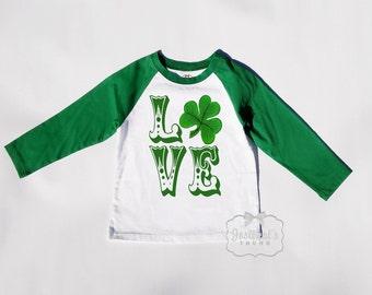 Kids Irish Shirt - St Patrick Shirt - Green White Baseball - LOVE Shamrock Shirt - Saint Patricks Day - Boy Irish Custom Size Retro Vintage