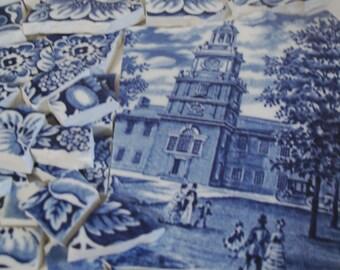 Mosaic Tiles Pieces - Liberty Blue -Scenic - Vintage  Broken Plate -Tesserae Pieces