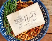 Roasted Nut Favor Bag - Nuts for Each Other - Candied nuts, Chocolate nuts, Hazelnuts, Peanuts - Cute gift idea -  25 Bags
