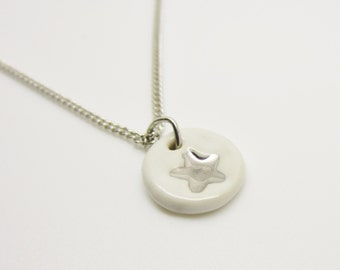 Metallic Silver Small Star Stamped Necklace Glazed Ceramic Porcelain on an 18 inch Silver Chain