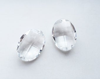 2 pcs Vintage Swarovski 8950/8951 Matrix Crystal Faceted Oval Pendant Prism with 2 holes - 32mm