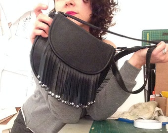 Fringe Shoulder Bag Made of Recycled Black Leather- By Cha Cha Handbags