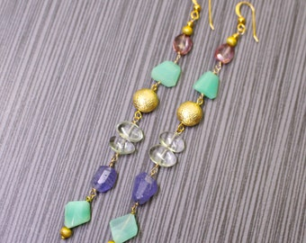 Luxe Sparkling Multi Gemstone Very Long and Lean 14kg fill Earrings