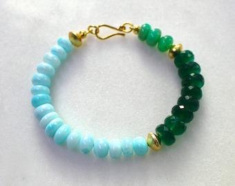 Fix Up, Look Sharp...Green Onyx, Blue Opal, Chrysoprase Multi gemstone layering bracelet in 22kg vermeil