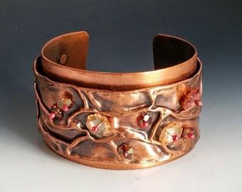 Artisan Fold Formed Copper and Swarovski Crystal Cuff Bracelet