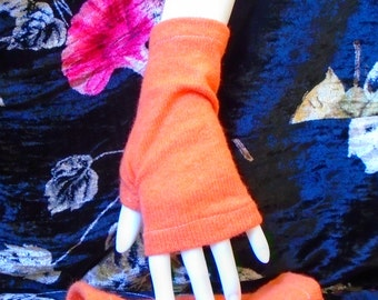 two-ply cashmere wrist length fingerless gloves in pumpkin spice arm warmers boho chic teen mori girl  handmade upcycled texting mittens