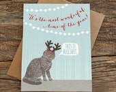 funny holiday cards / funny cat card / cat antlers