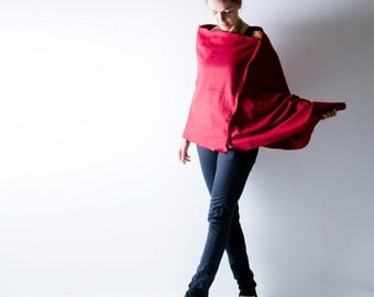 Red poncho, Wool poncho, Felt poncho, Wool cape, Wool cloak, Grey shawl, Winter clothes, Plus size clothing, maternity clothes, Boho poncho