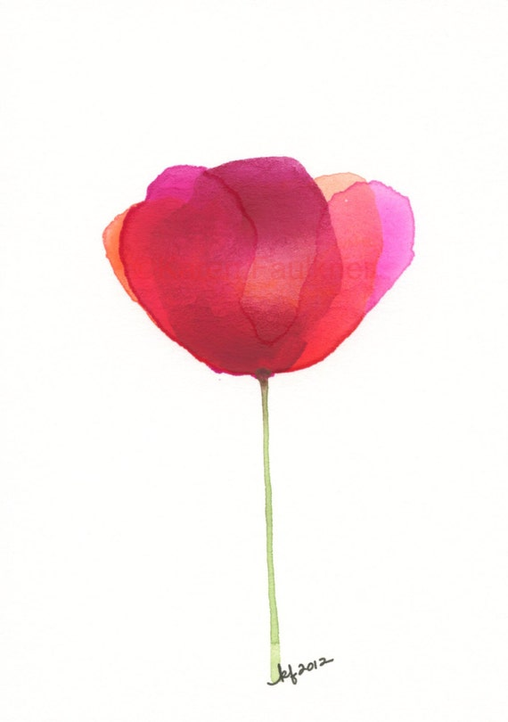 "Watercolor flower art print of a red poppy: ""August Turns September"""