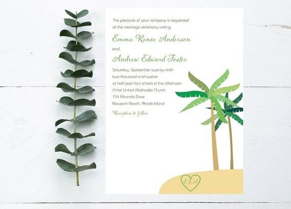Palm Tree Wedding Invitation - Beach Wedding Invitation, Destination Wedding Invitation