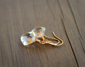 Sparkling Crystal Quartz Kite Stones Wire Wrapped with 14k Rose Gold Fill - April Birthstone Crystal Earrings