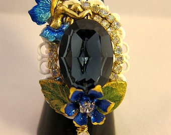Sitting Fairy With Blue Sapphire Swarovski Crystals Ring Jewelry Fantasy Fae Faerie Fay Nature Flowers Realm Glamorous Adjustable